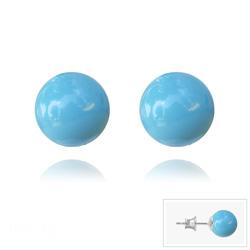 Clous d'Oreilles en Argent Perle de Cristal Nacré 8MM Turquoise
