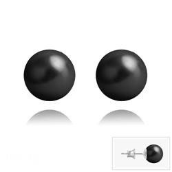 Clous d'Oreilles en Argent Perle de Cristal Nacré 8MM Mystic Black