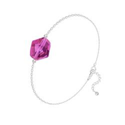 Bracelet Cosmic en Argent et Cristal Fuchsia