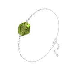 Bracelet en Cristal et Argent Bracelet Cosmic en Argent et Cristal Olivine