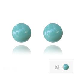 Clous d'Oreilles en Argent Perle de Cristal Nacré 6MM Jade