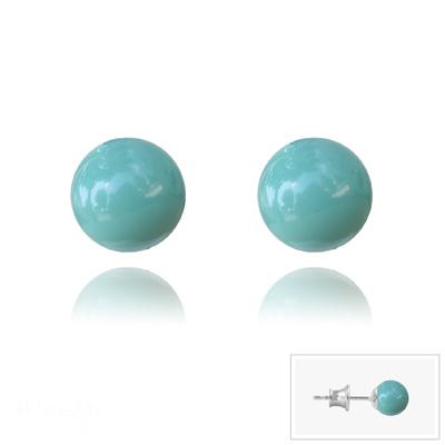 Clous d'Oreilles en Cristal et Argent Clous d'Oreilles en Argent Perle de Cristal Nacré 6MM Jade