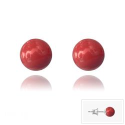 Clous d'Oreilles en Argent Perle de Cristal Nacré 6MM Red Coral