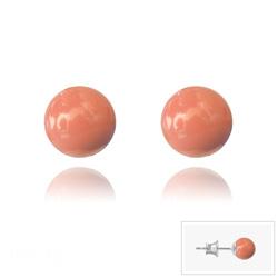 Clous d'Oreilles en Argent Perle de Cristal Nacré 6MM Coral