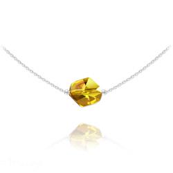 Collier Ras de Cou Cosmic en Argent et Cristal Sun Flower