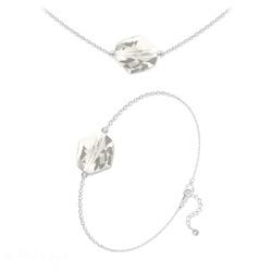 Parure Ras de Cou + Bracelet Cosmic en Argent et Cristal Silver Shade