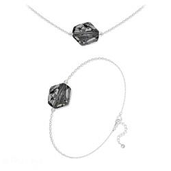 Parure Ras de Cou + Bracelet Cosmic en Argent et Cristal Silver Night