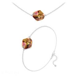 Parure Ras de Cou + Bracelet Cosmic en Argent et Cristal Copper