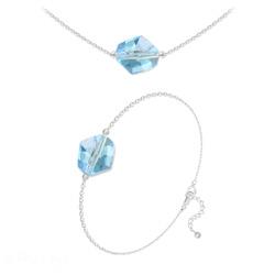Parure Ras de Cou + Bracelet Cosmic en Argent et Cristal Bleu