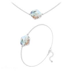 Parure Ras de Cou + Bracelet Cosmic en Argent et Cristal Aurore Boréale