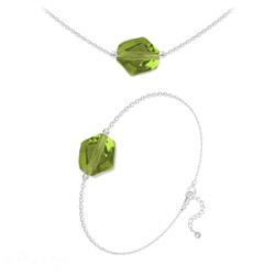 Parure Ras de Cou + Bracelet Cosmic en Argent et Cristal Vert Olivine
