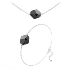 Parure Ras de Cou + Bracelet Cosmic en Argent et Cristal Jet (Noir)