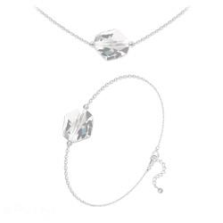 Parure Ras de Cou + Bracelet Cosmic en Argent et Cristal Blanc
