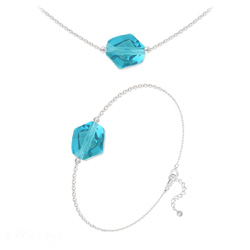 Parure Ras de Cou + Bracelet Cosmic en Argent et Cristal Indicolite