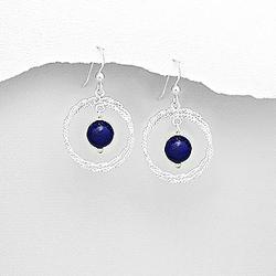 Boucles d'Oreilles en Argent et Lapis Lazuli (Pierre Naturelle)
