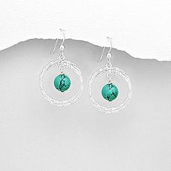 Boucles d'Oreilles en Argent et Turquoise (Pierre Naturelle)