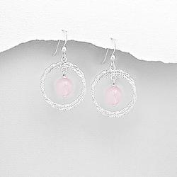 Boucles d'Oreilles en Argent et Quartz Rose (Pierre Naturelle)