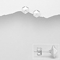 Clous d'Oreilles Hexagone en Argent