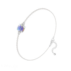 Bracelet en Cristal et Argent Bracelet Cube 6mm en Argent et Cristal Aurore Boréale