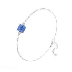 Bracelet en Cristal et Argent Bracelet Cube 6mm en Argent et Cristal Bleu Saphir