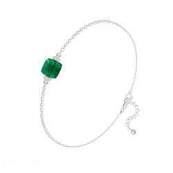 Bracelet en Cristal et Argent Bracelet Cube 6mm en Argent et Cristal Vert Emeraude