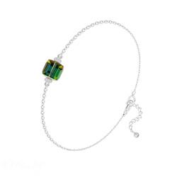 Bracelet en Cristal et Argent Bracelet Cube 6mm en Argent et Cristal Vitrail Medium