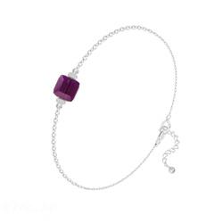 Bracelet en Cristal et Argent Bracelet Cube 6mm en Argent et Cristal Améthyste