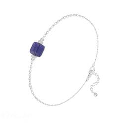 Bracelet en Cristal et Argent Bracelet Cube 6mm en Argent et Cristal Tanzanite