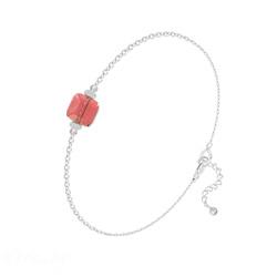 Bracelet Cube 6mm en Argent et Cristal Rose