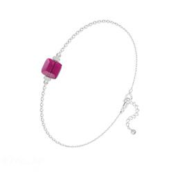 Bracelet en Cristal et Argent Bracelet Cube 6mm en Argent et Cristal Fuchsia