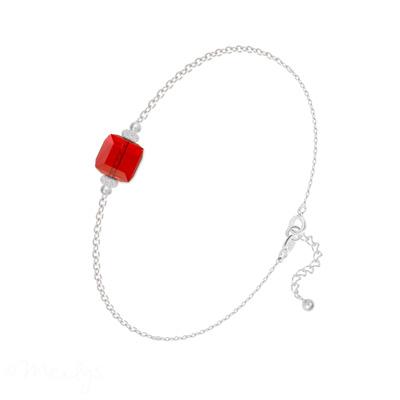 Bracelet en Cristal et Argent Bracelet Cube 6mm en Argent et Cristal Rouge Light Siam