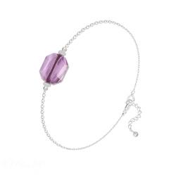 Bracelet Graphic en Argent et Cristal Light Amethyst
