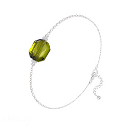 Bracelet Graphic en Argent et Cristal Olivine