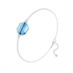 Bracelet en Cristal et Argent Bracelet Graphic en Argent et Cristal Bleu
