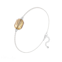 Bracelet en Cristal et Argent Bracelet Graphic en Argent et Cristal Champagne