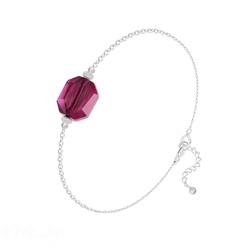 Bracelet Graphic en Argent et Cristal Ruby