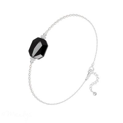 Bracelet en Cristal et Argent Bracelet Graphic en Argent et Cristal Jet (Noir)