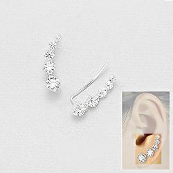 Broches d'Oreilles en Argent et Diamant CZ Blanc