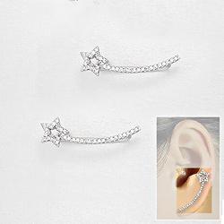 Broches d'Oreilles Étoile Filante en Argent et Diamant CZ Blanc