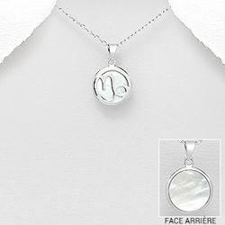 Capricorne - Pendentif Signe du Zodiaque en Argent et Nacre