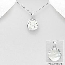 Taureau - Pendentif Signe du Zodiaque en Argent et Nacre