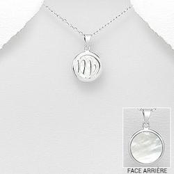 Vierge - Pendentif Signe du Zodiaque en Argent et Nacre