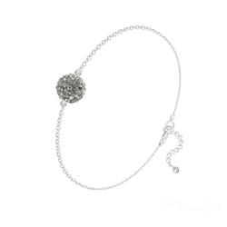 Bracelet Disco Ball 8MM en Argent et Cristal Black Diamond