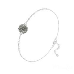 Bracelet en Cristal et Argent Bracelet Disco Ball 8MM en Argent et Cristal Black Diamond