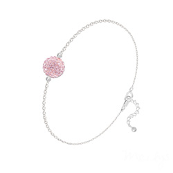 Bracelet en Cristal et Argent Bracelet Disco Ball 8MM en Argent et Cristal Light Rose