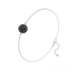 Bracelet Disco Ball 8MM en Argent et Cristal Jet (Noir)