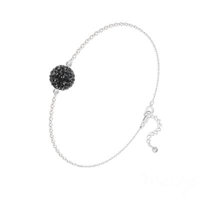 Bracelet en Cristal et Argent Bracelet Disco Ball 8MM en Argent et Cristal Jet (Noir)