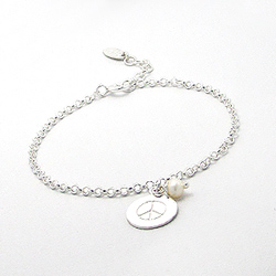 Bracelet en Argent Peace and Love Perle d'Eau Douce