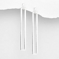 Boucles d'Oreilles Rectangle Design en Argent