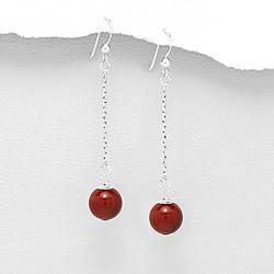 Boucles d'Oreilles en Argent Perles de Corail Éponge 10mm